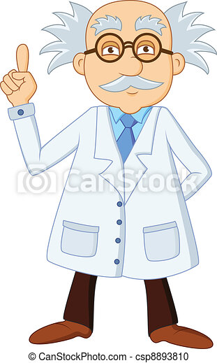 Funny scientist cartoon character - csp8893810