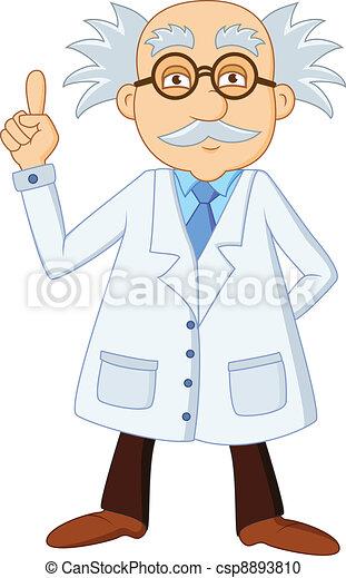 Funny scientist cartoon character - csp8893810