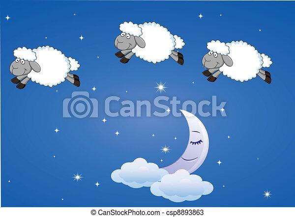 Sheep cartoon - csp8893863