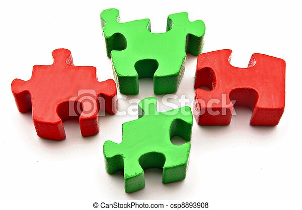 Four puzzle pieces red and gree - csp8893908