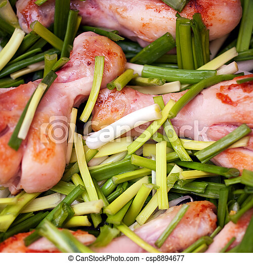 Fried chicken with green onion - csp8894677
