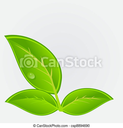 Environmental icon with plant. Vector illustration - csp8894690