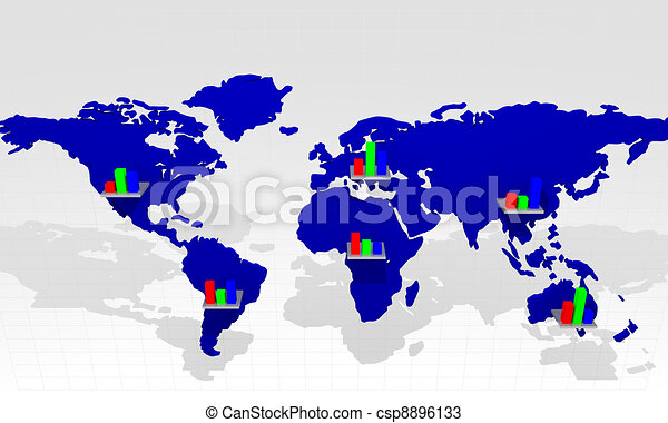 Chart with world map - csp8896133