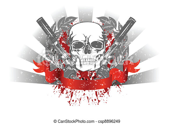 skull with two pistols - csp8896249