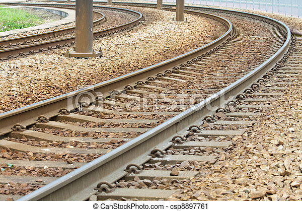 Close-up of the railway tracks complex junction - csp8897761