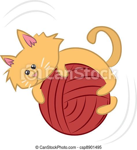 vecteur clipart de fil  chat dessin anim u00e9  chaton  chat yarn clip art black and white crochet balls yarn clip art svg