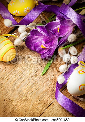 Easter background with flowers and Easter eggs - csp8901689