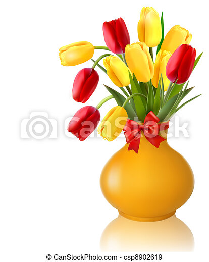 Spring flowers in a vase - csp8902619