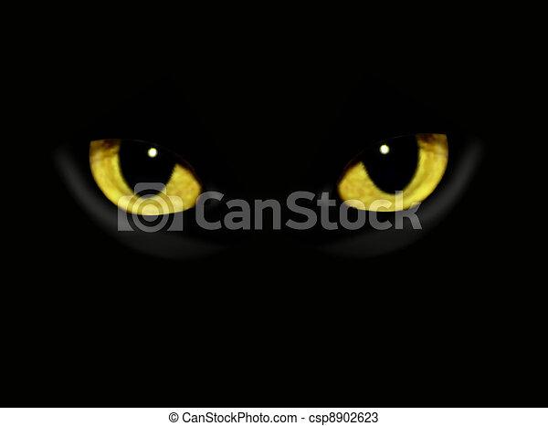 Cat eyes in dark night - csp8902623
