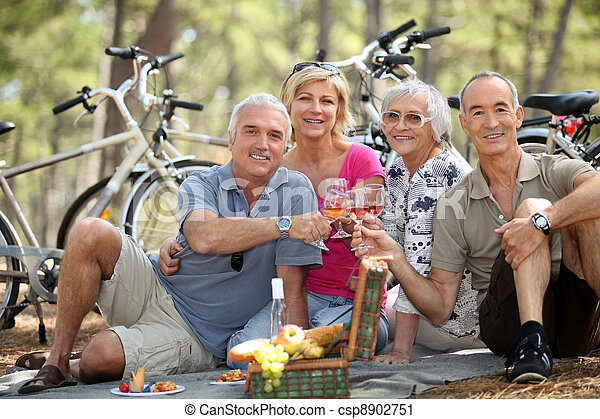 four senior people toasting at picnic - csp8902751