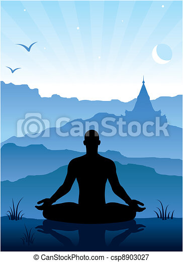 Meditation in the mountains - csp8903027