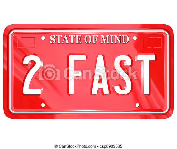 2 Fast Words on Red Vanity License Plate Speedy Driver - csp8903535