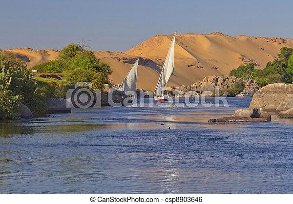 Sailing on the Nile. Near Aswan. - csp8903646