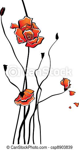 Stylized poppy - csp8903839