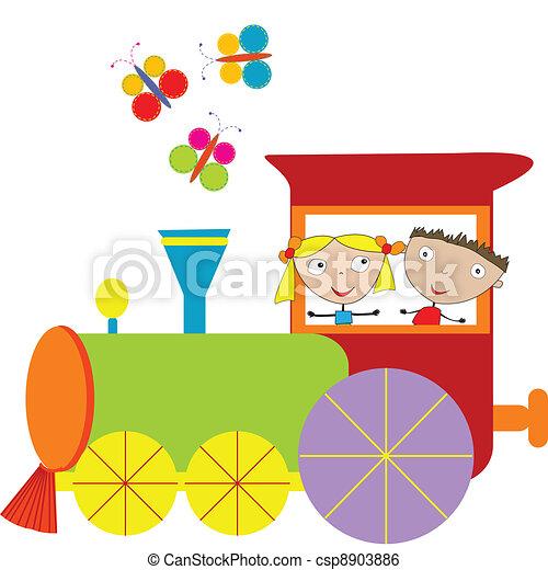 Children background with steam engi - csp8903886
