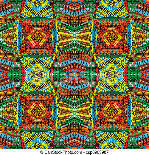 Collage made of textile patchworks - csp8903987
