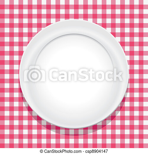 vector tablecloth and empty plate - csp8904147