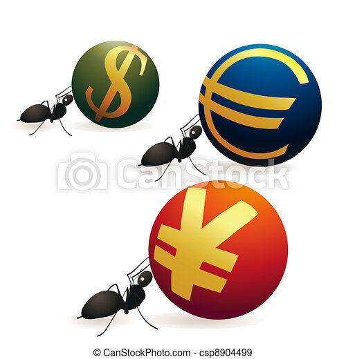 Three ants pushing Yuan Euro and Do - csp8904499