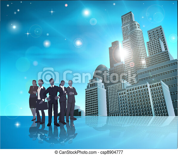 Professional team blue city illustr - csp8904777