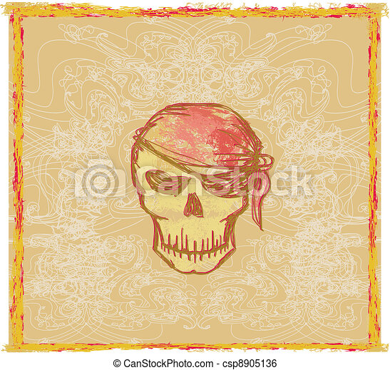 Skull Pirate - retro card  - csp8905136