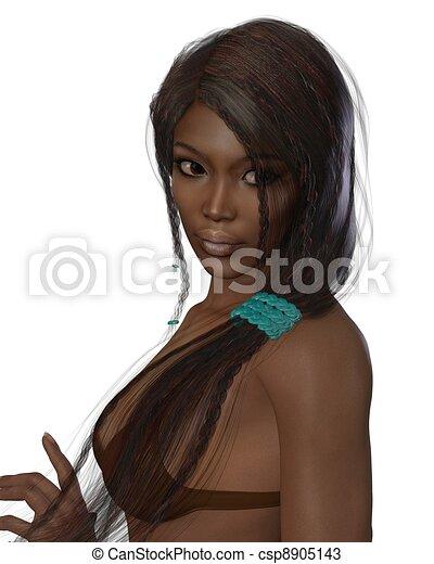 Dark Skinned Beauty Portrait - csp8905143