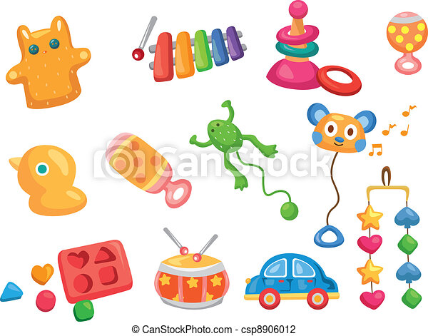 Vector toy icons. Baby toys - csp8906012