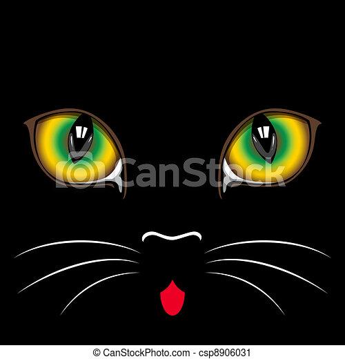 Clipart de noir chat yeux museau noir chat fin haut yeux csp8906031 recherchez des - Dessins de chats stylises ...