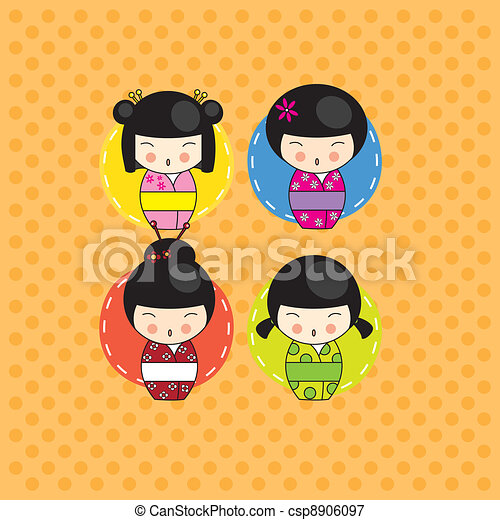 Kokeshi dolls card - csp8906097