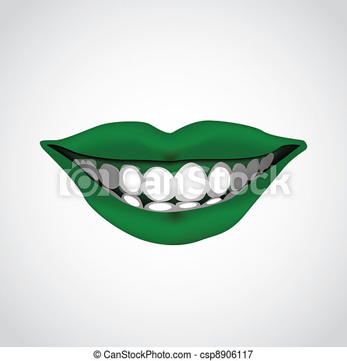 beautiful woman?s  mouth smiling - illustration - csp8906117