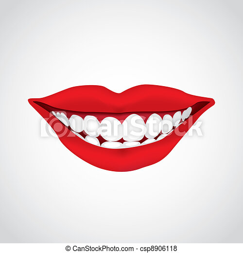 beautiful woman?s  mouth smiling - illustration - csp8906118