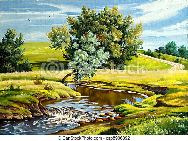 verão, paisagem rio - csp8906392
