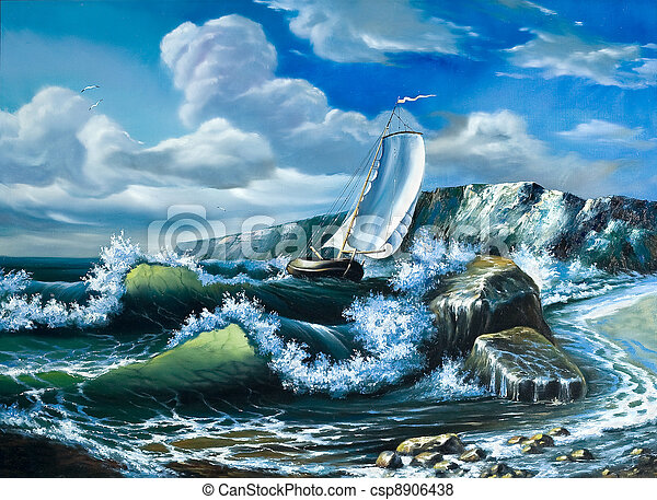 Lonely sailing vessel in the storming sea - csp8906438
