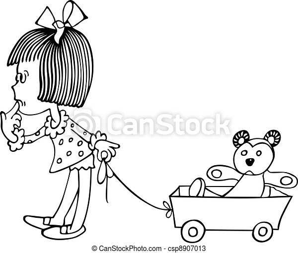 Little girl and toy bear - csp8907013