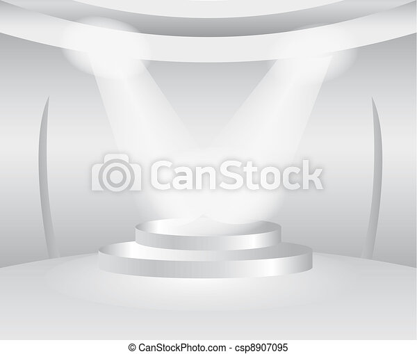 Round white room with stage for exhibition product  - csp8907095