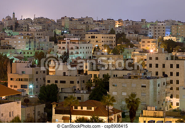 living district Amman city at night - csp8908415