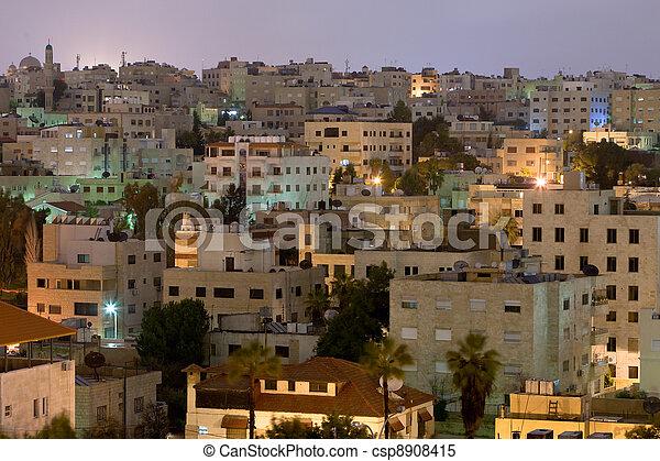living district Amman city at night - csp8908415