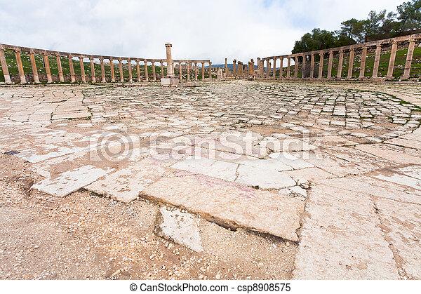 oval forum in antique town Jerash in Jordan - csp8908575