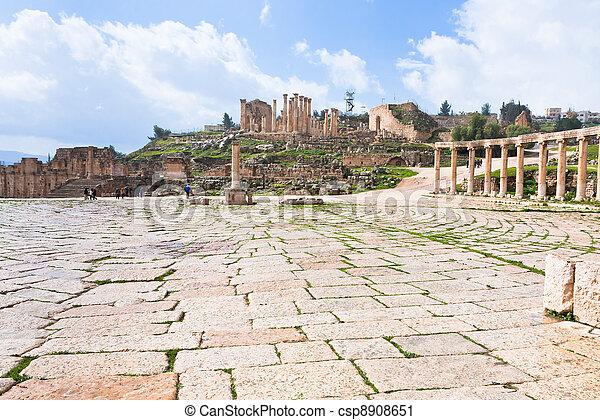 oval forum in antique town Jerash in Jordan - csp8908651