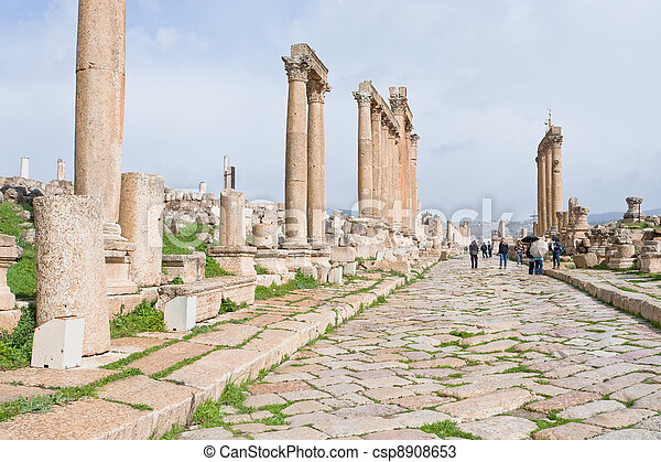 long colonnaded street in antique town Jerash - csp8908653