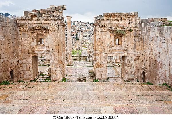 view through antique Artemis temple in ancient city  Gerasa to modern Jerash - csp8908681