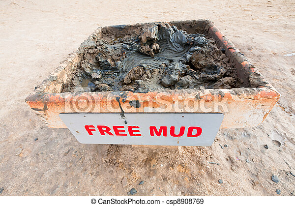 free mud on coast of Dead Sea - csp8908769