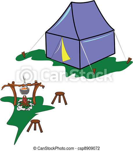 campsite in meadow - csp8909072