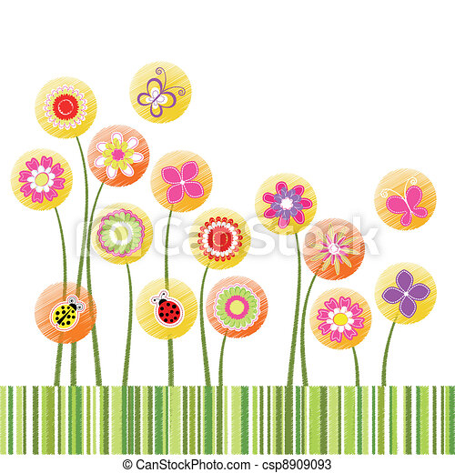 Abstract springtime colorful flower greeting card - csp8909093