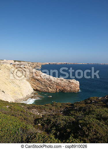 Monumental cliff coast near Cape St  Vincent, Portugal - csp8910026