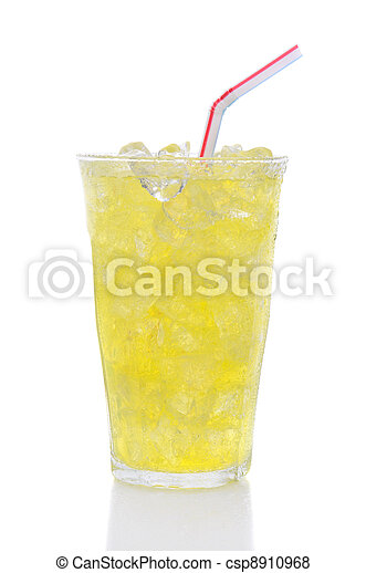 Glass Lemon Lime Soda with Drinking Straw - csp8910968