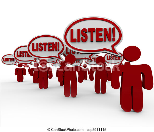 Listen - Many People Talking Demanding Attention - csp8911115