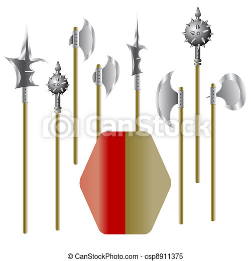 Illustration of medieval weapons and shield - csp8911375