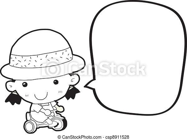cartoon girl with speech bubble - csp8911528