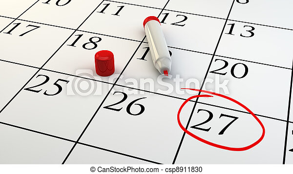 a Day of Appointment circled on Calendar - csp8911830
