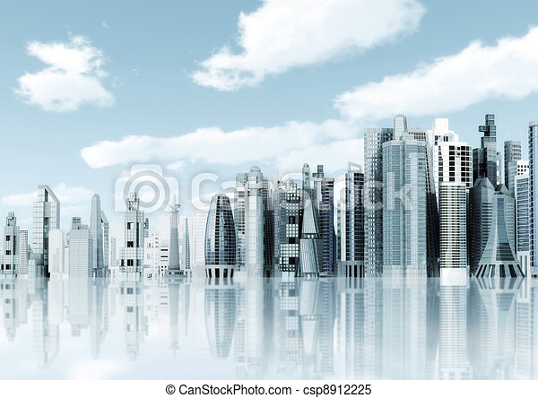 Futuristic Skyscrapers Drawings Futuristic City Background